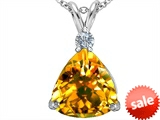 Original Star K™ Large 12mm Trillion Cut Simulated Citrine Pendant style: 306008