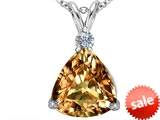 Original Star K™ Large 12mm Trillion Cut Simulated Imperial Yellow Topaz Pendant