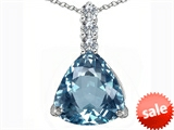 Original Star K™ Large 12mm Trillion Cut Simulated Aquamarine Pendant