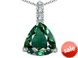 Original Star K™ Large 12mm Trillion Cut Simulated Emerald Pendant style: 306014