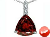 Original Star K™ Large 12mm Trillion Cut Simulated Garnet Pendant