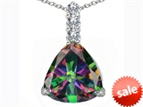Original Star K™ Large 12mm Trillion Cut Rainbow Mystic Topaz Pendant style: 306016