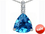 Original Star K™ Large 12mm Trillion Cut Simulated Blue Topaz Pendant