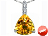 Original Star K™ Large 12mm Trillion Cut Simulated Citrine Pendant style: 306018