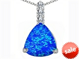Original Star K™ Large 12mm Trillion Cut Created Blue Opal Pendant