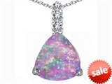 Original Star K™ Large 12mm Trillion Cut Created Pink Opal Pendant style: 306023