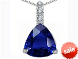 Original Star K™ Large 12mm Trillion Cut Created Blue Sapphire Pendant