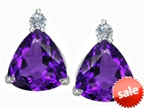 Original Star K™ 7mm Trillion Cut Simulated Amethyst Earrings Studs style: 306028