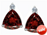 Original Star K™ 7mm Trillion Cut Simulated Garnet Earrings Studs style: 306032