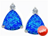 Original Star K™ 7mm Trillion Cut Created Blue Opal Earrings Studs style: 306034