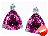 Original Star K™ 7mm Trillion Cut Created Pink Sapphire Earring Studs
