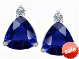 Original Star K™ 7mm Trillion Cut Created Sapphire Earrings Studs style: 306039