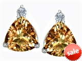 Original Star K™ 7mm Trillion Cut Simulated Imperial Yellow Topaz Earrings Studs style: 306044