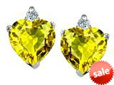 Original Star K™ 7mm Heart Shape Genuine Citrine Earrings