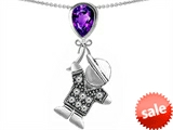 Original Star K™ Boy Holding a Balloon Mother February Birthstone Pear Shape Simulated Amethyst Pendant style: 306047