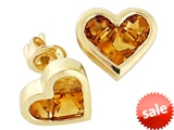 Tommaso Design™ Invisible Set Genuine Citrine Heart Earrings Studs style: 306051