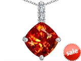 Original Star K™ Large 12mm Cushion Cut Simulated Mexican Orange Fire Opal Pendant