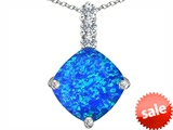 Original Star K™ Large 12mm Cushion Cut Created Blue Opal Pendant style: 306053