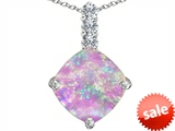 Original Star K™ Large 12mm Cushion Cut Created Pink Opal Pendant style: 306055
