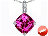 Original Star K™ Large 12mm Cushion Cut Created Pink Sapphire Pendant style: 306056