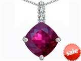 Original Star K™ Large 12mm Cushion Cut Created Ruby Pendant
