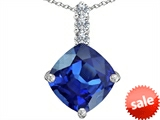 Original Star K™ Large 12mm Cushion Cut Created Sapphire Pendant style: 306058