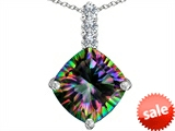 Original Star K™ Large 12mm Cushion Cut Rainbow Mystic Topaz Pendant