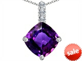 Original Star K™ Large 12mm Cushion Cut Simulated Amethyst Pendant style: 306060