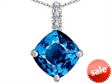 Original Star K™ Large 12mm Cushion Cut Simulated Blue Topaz Pendant style: 306062