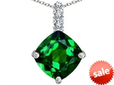 Original Star K™ Large 12mm Cushion Cut Simulated Emerald Pendant style: 306064