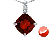 Original Star K™ Large 12mm Cushion Cut Simulated Garnet Pendant style: 306065