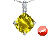 Original Star K™ Large 12mm Cushion Cut Simulated Yellow Sapphire Pendant style: 306067