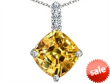 Original Star K™ Large 12mm Cushion Cut Simulated Imperial Yellow Topaz Pendant