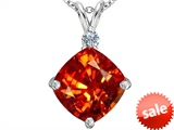 Original Star K™ Large 12mm Cushion Cut Simulated Mexican Orange Fire Opal Pendant style: 306069