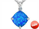 Original Star K™ Large 12mm Cushion Cut Created Blue Opal Pendant style: 306070