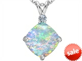 Original Star K™ Large 12mm Cushion Cut Created Opal Pendant