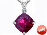 Original Star K™ Large 12mm Cushion Cut Created Ruby Pendant style: 306073