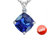 Original Star K™ Large 12mm Cushion Cut Created Sapphire Pendant style: 306074