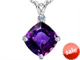 Original Star K™ Large 12mm Cushion Cut Simulated Amethyst Pendant style: 306076