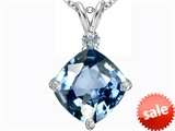 Original Star K™ Large 12mm Cushion Cut Simulated Aquamarine Pendant