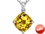 Original Star K™ Large 12mm Cushion Cut Simulated Citrine Pendant