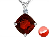 Original Star K™ Large 12mm Cushion Cut Simulated Garnet Pendant style: 306081