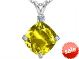 Original Star K™ Large 12mm Cushion Cut Simulated Yellow Sapphire Pendant style: 306082