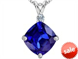 Original Star K™ Large 12mm Cushion Cut Simulated Tanzanite Pendant