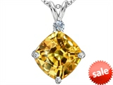 Original Star K™ Large 12mm Cushion Cut Simulated Imperial Yellow Topaz Pendant style: 306084
