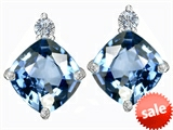 Original Star K™ 7mm Cushion Cut Simulated Aquamarine Earrings Studs style: 306090