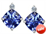 Original Star K™ 7mm Cushion Cut Simulated Tanzanite Earring Studs