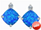 Original Star K™ 7mm Cushion Cut Created Blue Opal Earrings Studs style: 306096