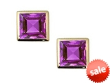 Tommaso Design™ Square Small Genuine Amethyst Earrings