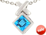 Tommaso Design™ 6mm Square Cut Genuine Blue Topaz Pendant style: 306106